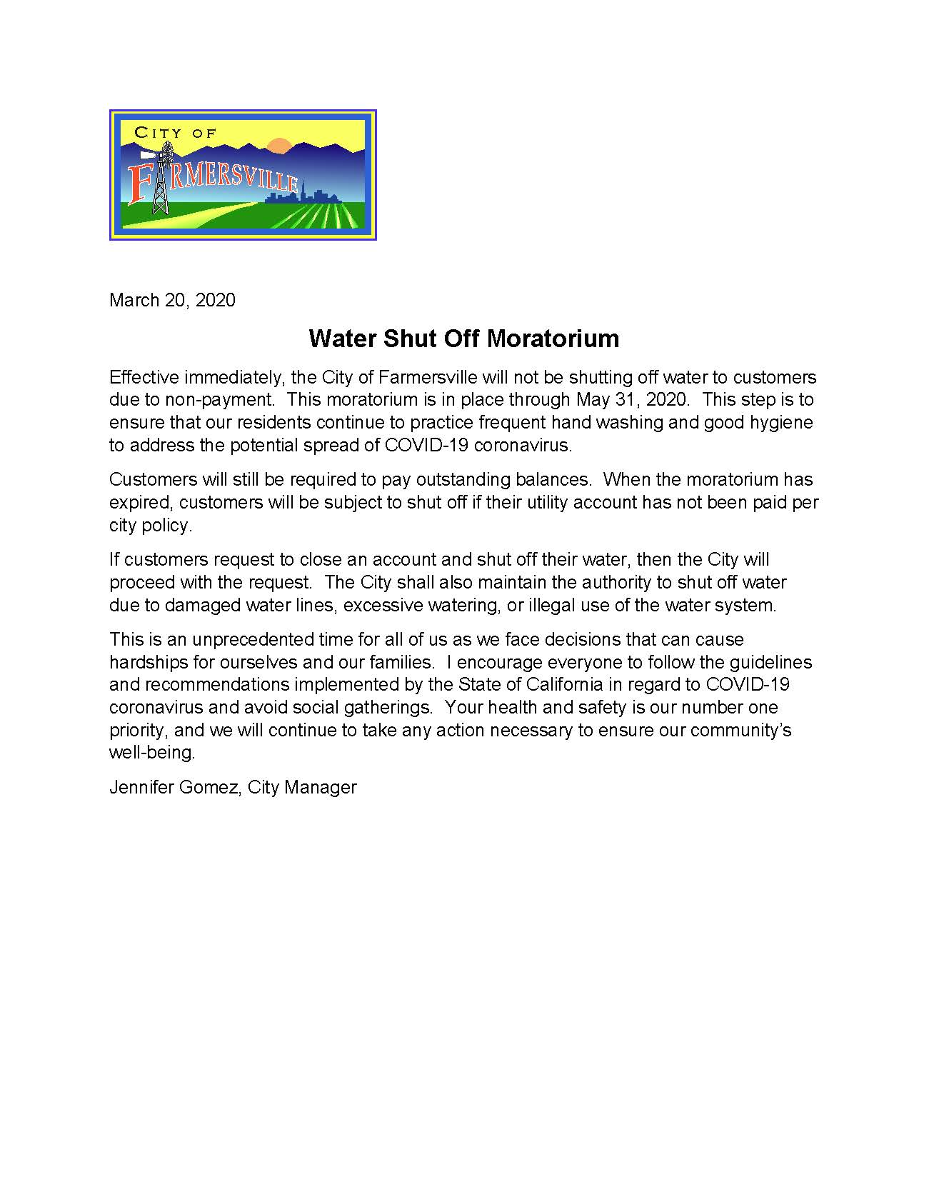 Water Shut Off Moratorium 3 -17 -2020