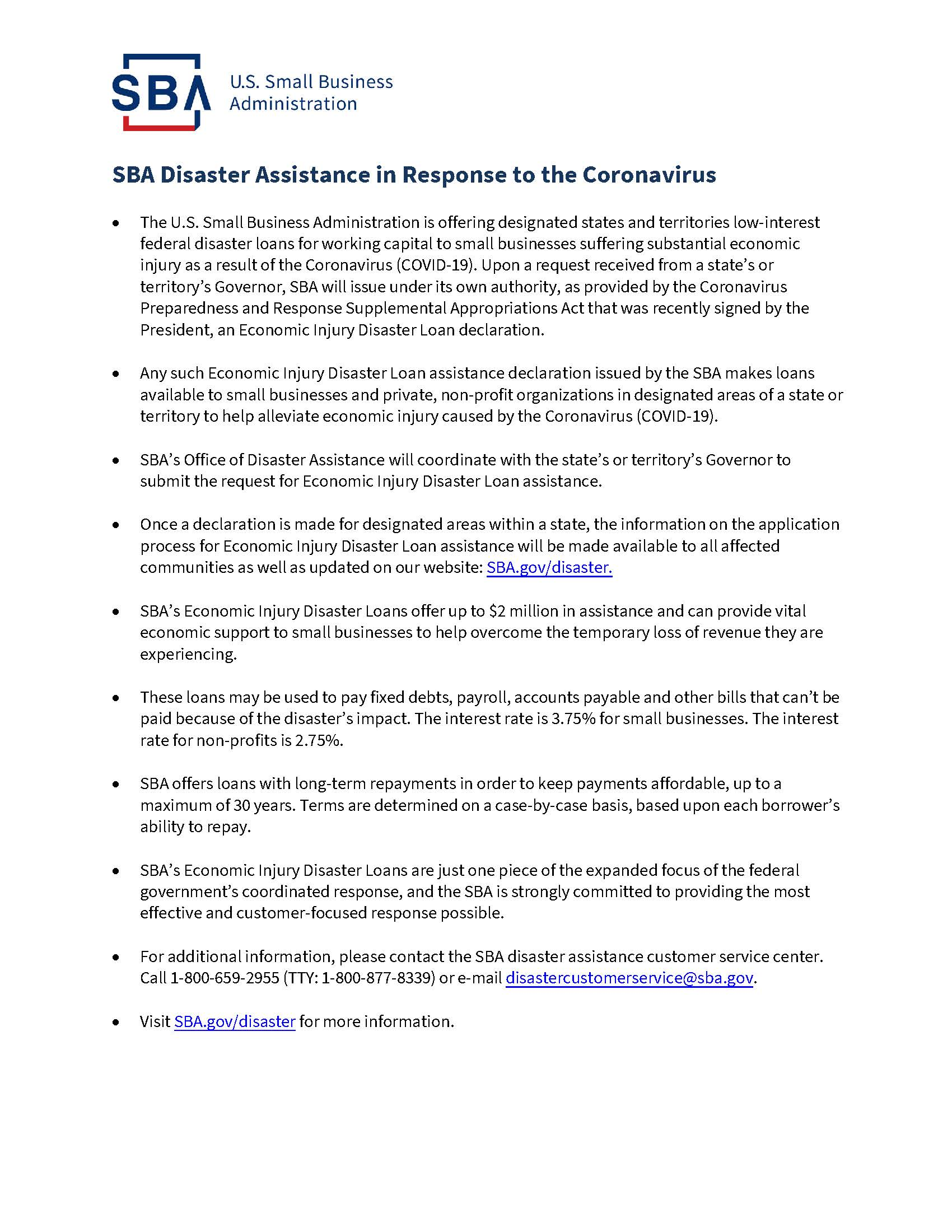 COVID-19 SBA Disaster Assistance_Resources for Businesses-508